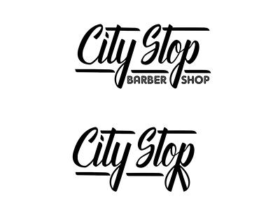 Barbershop logo concept salon barbershop logo concept logo hand lettering script typography illustrator vector