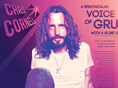 Chris Cornell tribute spread cornell rockstar purple pink posterized long shadow typography portrait illustrator vector