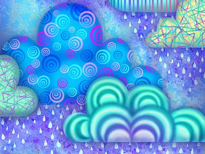 Dream Clouds whimsical digital illustration surreal illustration clouds patterns raster photoshop
