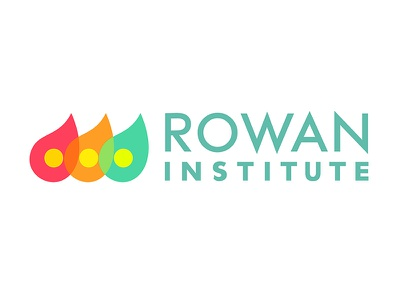 Rowan Logo Dribbble typography flat design communication ellipses raindrops futura identity branding vector logo