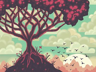 """Uprooted""  Digital Illustration drawing sketch concept bird clouds landscape tree procreateapp illustration ipad pro digital illustration"