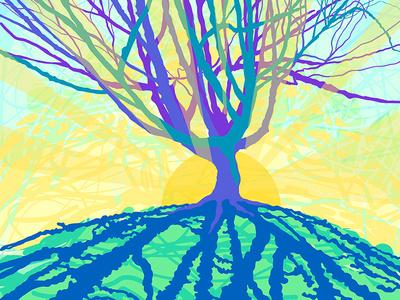 Shadow Tree - Digital Illustration drawing sketch silhouette tree sunset shadows vector art adobe draw landscape illustrator illustration ipad pro digital illustration