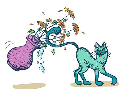 "The Siamese ""Accident"" - Digital Illustration drawing cat drawing sketch flowers cartoon cat siamese vector art adobe draw illustrator illustration ipad pro digital illustration"
