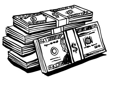 Money clip art line art pen and ink wealth cash rich money adobe draw vector illustrator illustration ipad pro digital illustration
