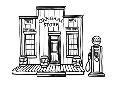 One Stop Shopping clip art line art pen and ink business concept one stop shopping gas station general store adobe draw vector illustrator illustration ipad pro digital illustration