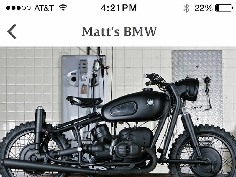 Item view - sneak peak motorcycle app item view ui ux interface