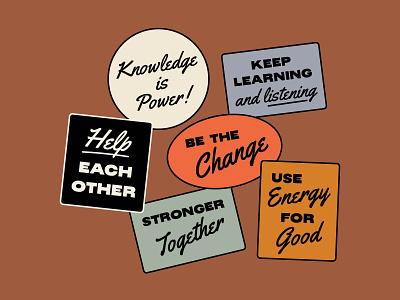 Reminders stickers motivation change type minimal typography illustration