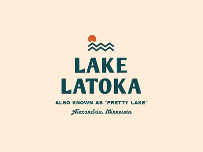 Stacked Lake Latoka Logo illustration minimal branding latoka minnesota lake graphic logo typography