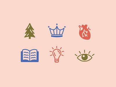 Arcadia Creative Co. Icon Set iconset handdrawn lightbulb book crown tree heart eye icons illustration
