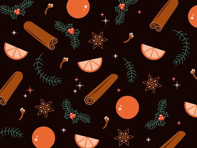 Holiday Potpourri rosemary cranberries cinnamon cloves orange spice holiday graphic simplistic illustration