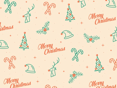 Merry Christmas Pattern candy cane santa hat rudolph pattern christmas tree holly christmas illustration