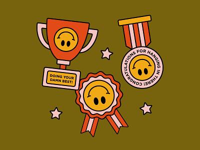 Celebrating all the wins! medal trophy badge award smiley graphic simplistic illustration