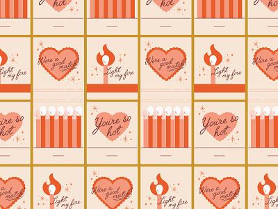 Valentine Matchbooks matches puns matchbook typography simplistic illustration valentines day valentine