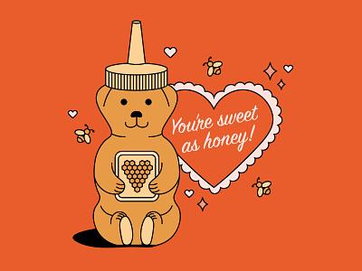 Honey Valentine valentines day sweet bear honey heart valentine simplistic illustration