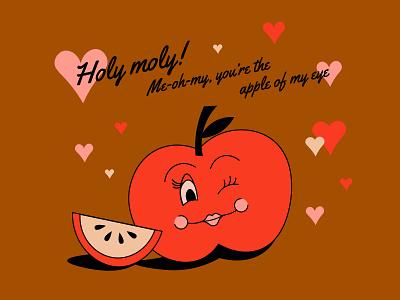 You're the apple of my eye retro design illustration flirty wink valentine apple character retro