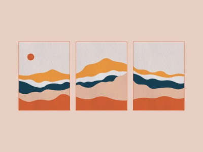Landscape Triptych simplistic design mountains painting simple colorful triptych landscape illustration