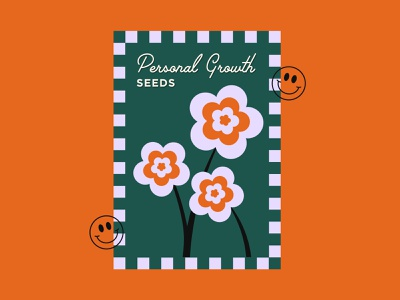 Personal Growth Seeds design graphic smiley spring simple flowers packet seeds checkered illustration