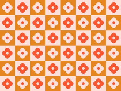 Checkered Flowers retro graphic simple spring flowers checkers