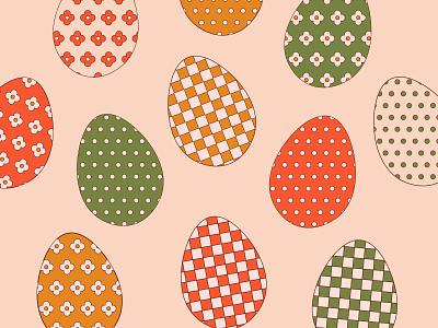 Easter Eggs dots flower power illustraion retro flower checkered eggs easter eggs easter