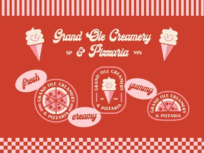 Grand Ole Creamery & Pizzeria minimal graphic st paul minnesota smallbiz retro pizza icecream stickers illustration