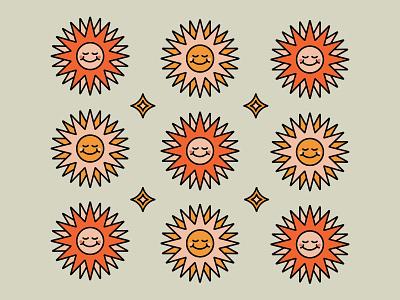Sunshine pattern summer retro 70s sunshine simplistic illustration