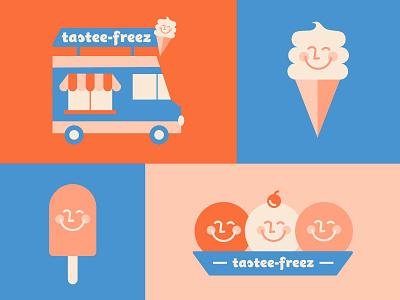 Tastee Freez Ice Cream dessert treats food truck characters ice cream graphic simplistic illustration