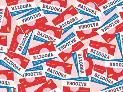 Bazooka bazooka bubble candy sweet gum graphic typography simplistic illustration
