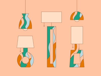 Lamps to brighten your day💡✨ design minimal midcentury colorful graphic lamps funky simplistic illustration