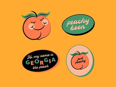 Georgia the peach stickers georgia stickers character cute peach design graphic simplistic illustration