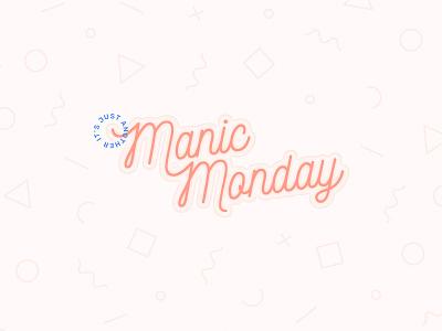 Manic Monday typography pattern pastel pink monday manic bangles