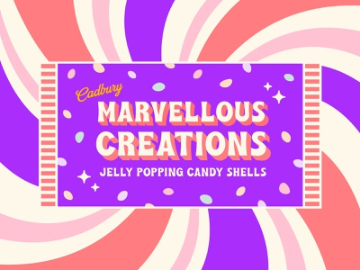Cadbury Marvellous Creations typography sweets chocolate candy candy bar illustration