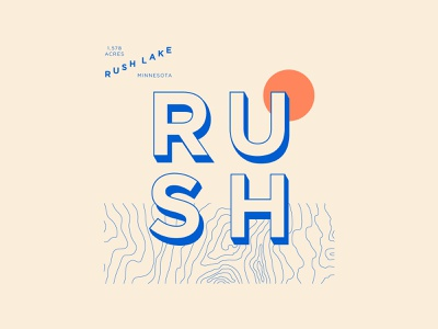 Rush Lake rush minnesota lake logo simplistic typography illustration