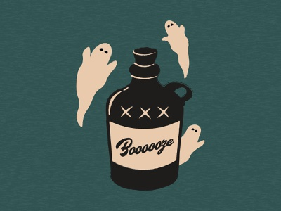 Booooze👻 design spooky ghost halloween illustration
