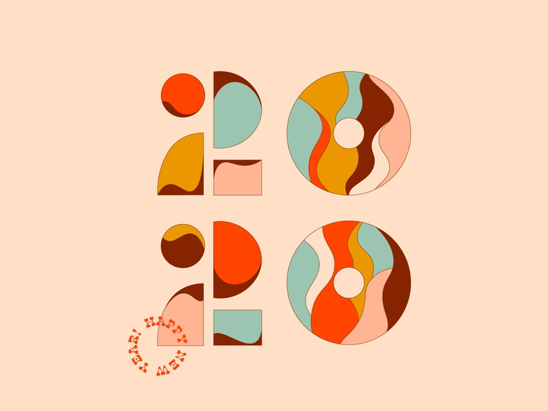 2020 hny 2020 new year type graphic simplistic illustration typography