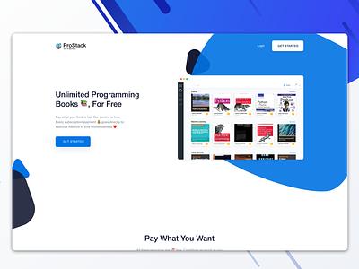 Programming Book Library Concept minimal web ui ux branding layout illustration design
