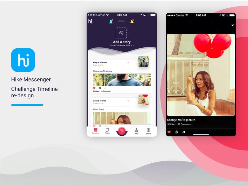 Hike Messenger: Timeline Redesign messenger app timeline feed chat app hike iphone ui mobile app android app ios website branding app ux ui design