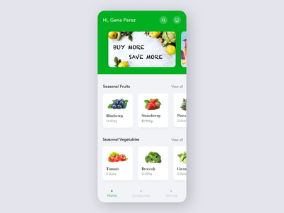 Online Grocery App store nutrition calories food fruits vegetables marketplace grocery app shopping interface minimal modern ui ux ui clean design app animation