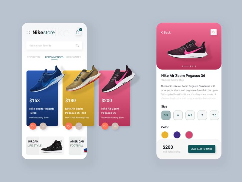 Nike - Mobile App Concept concept branding colours minimal modern ui ux ui clean design ecommence store running shoe sneaker shoe product app sportswear nike footwear cart 2019 trends