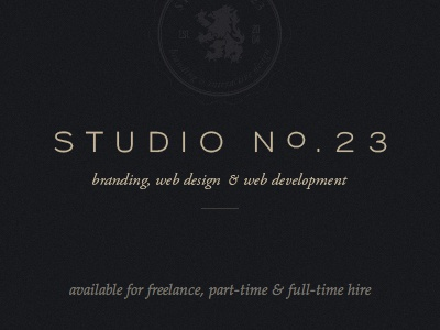 Studio No.23 Holding Page home page dark seal holding page