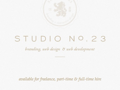 Studio No.23 Holding Page home page lite seal holding page