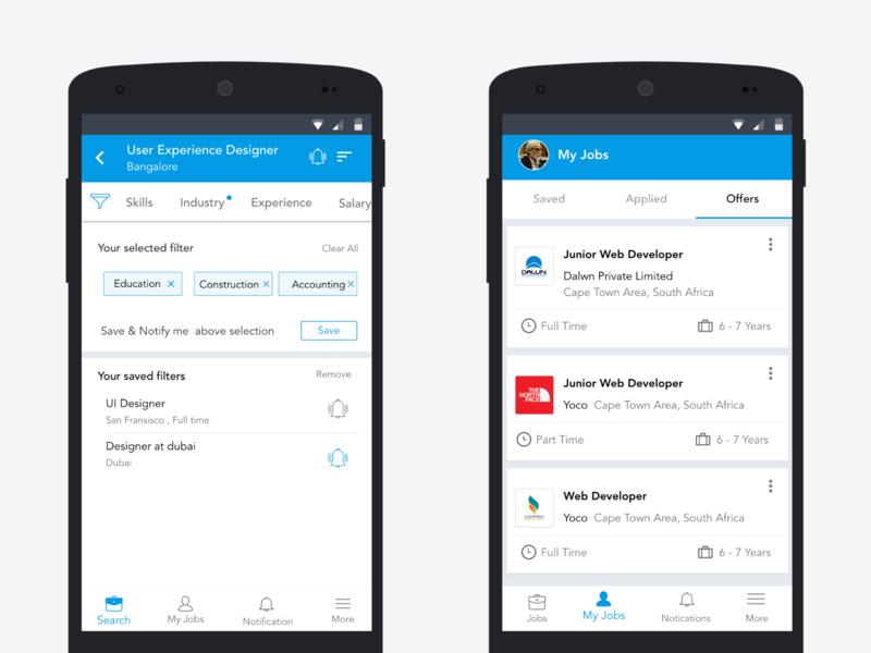 Job filters and offers recruiter offers job business app ui design