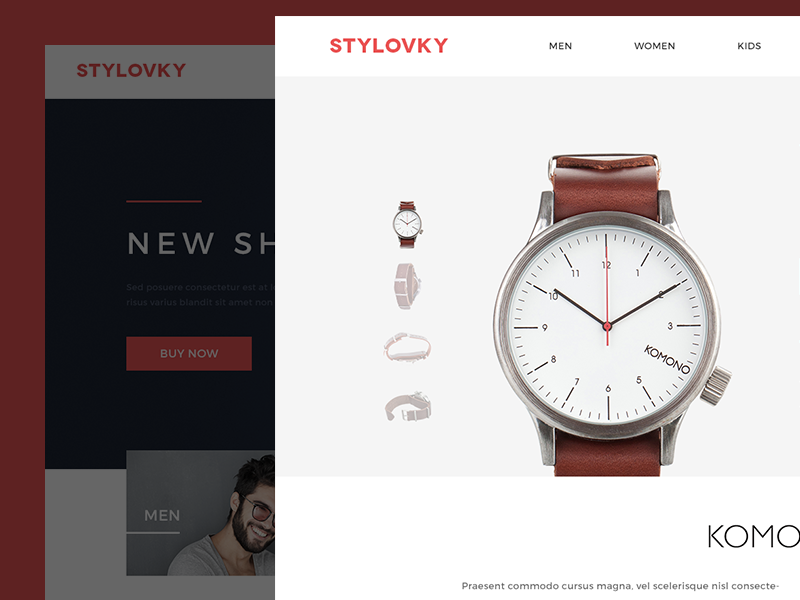 Stylovky - product detail komono product ecommerce store fashion detail product page clean minimalistic watches