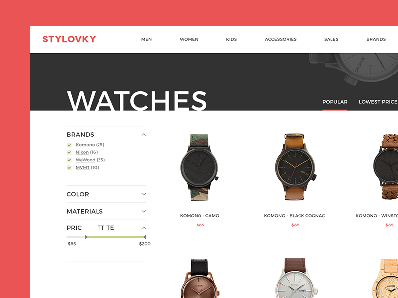Category page store fashion filter products watches