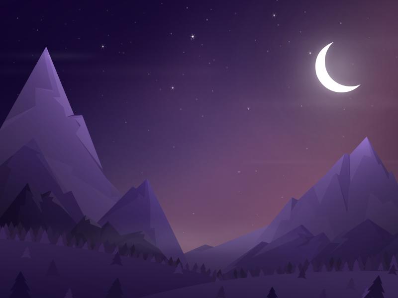 Mountains scene night purple sky mountains ilustration