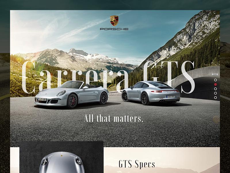 Porsche GTS microsite (WIP) ui mountains gts redesign scroll porsche website
