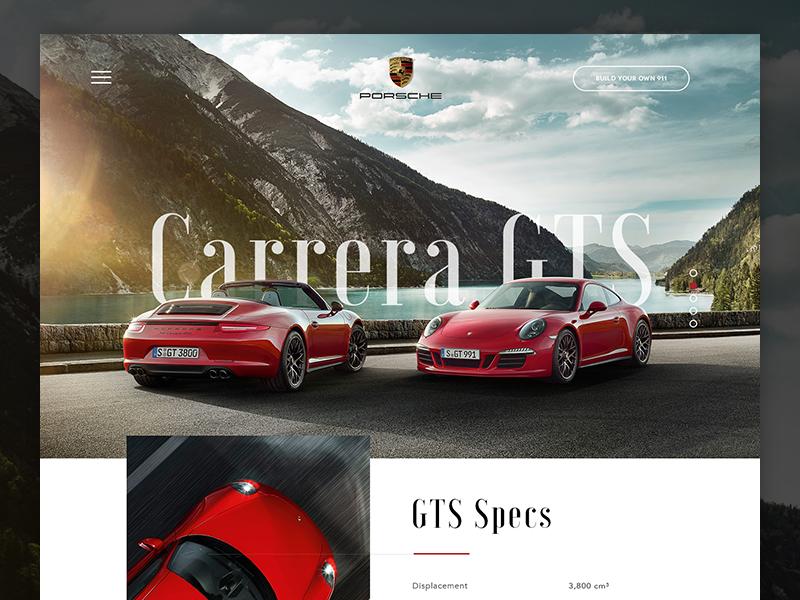 Porsche GTS carrera scroll clean minimal red grid ui one page microsite porsche design