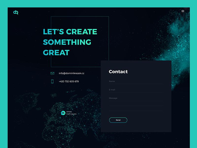Portfolio Redesign - Contact dark black site personal map green dust powder contact portfolio