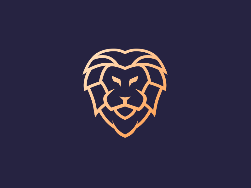 Lion  branding stroke symbol tiger animal icon gold logo mark lion