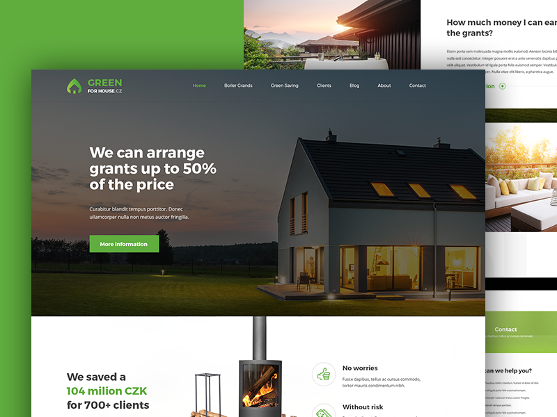 Green for House landing page website green case study behance