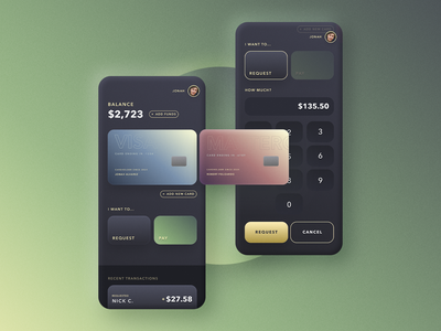 Payment App pay request dark money payment mobile app interface figma ui